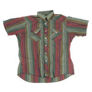 Wrangler Button Shirt Men's XL Pearl Snap Striped